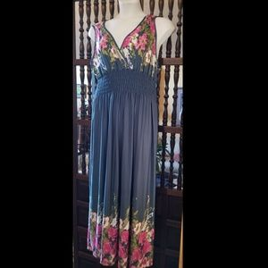 Sleeveless Surplice Maxi Floral Dress